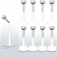 "8 Pc Press fit CZ 14g 3/8"" (10mm) Bioflex Push In Lip Labrets Monroe Stud Ring"