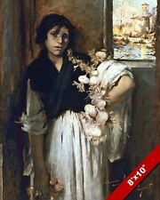 THE POOR GARLIC ONION PEDDLER GIRL OF VENICE OIL PAINTING ART REAL CANVAS PRINT