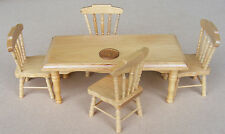 1:12 Scale Pine Colour Table & 4 Chairs Dolls House Miniature Kitchen DF131P