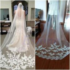 1 Layer White Cathedral Length Lace Edge Bride Wedding Bridal Long Veil + Comb