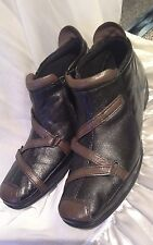 "Ladies black&brown leather ankle boots by ""Pavers "" size 7.5uk (41)*"