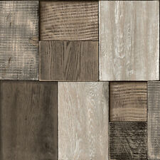 Koziel Bluff Brown Wood Blocks Wallpaper Wooden Effect Textured Vinyl J27008