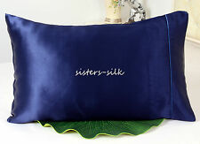100% Silk Pillow Case Pure Silk Pillowcase Queen Blue On Sale! Sisters Silk
