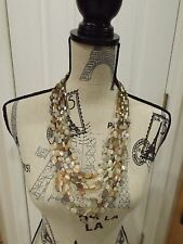"""Signed Jay Strongwater 11 Eleven Strand Biege Gray Brown Bead Necklace 30"""""""
