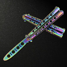 New Cool Bright Practice Balisong Butterfly Knife Style Metal Trainer Tool K047
