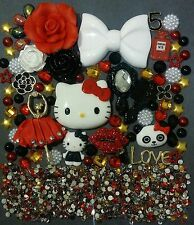 Hello Kitty Rose BLING Lips Cabochon Kawaii DIY decoden Phone kit resin flatback