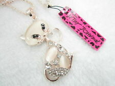 Betsey Johnson Shiny Rhinestone cat's eye stone cat pendant Necklace # F293A