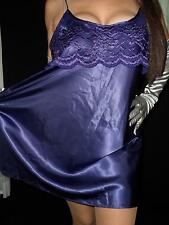 Silky SATIN Babydoll  Nightgown LARGE Nighty Lace Purple Vtg Private Luxuries