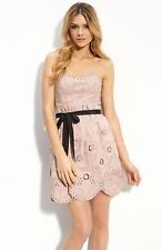 NWT BCBG MAX AZRIA MAUVE ROSE PINK BLUSH BLACK STRAPLESS DRESS 6/M EMBRODERYONLY