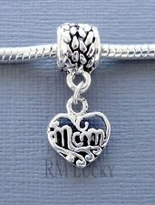 ONE Charm MOM Pendant Dangle Large Hole bead. Fits European Charm Bracelet C86