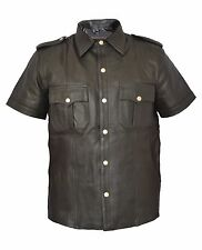 Men's Real Cow Natural Grain Leather Shirt Police Uniform Gay Shirt