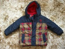 Ladybird Hooded Winter Coat, Navy & Red Tartan, age 18 - 24 months, fleece lined