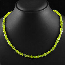 AWESOME RARE 125.00 CTS NATURAL UNTREATED GREEN PERIDOT SQUARE BEADS NECKLACE