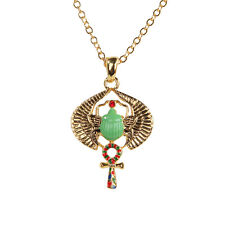 Egyptian Green Scarab Open Wings Necklace Pendant Fashion Jewelry 10032