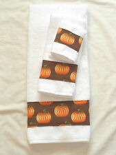 Bath Hand Towel Wash Cloth Holiday Halloween Fall Pumpkin Brown Orange 3 Pc Set