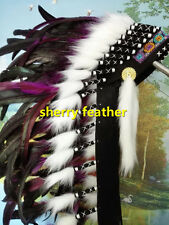 28 INCH Hot pink indian feather headdress chief war bonnet american costume