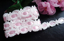 Venise Lace, trim 5/8 inches wide white/pink ribbon color  selling by the yard