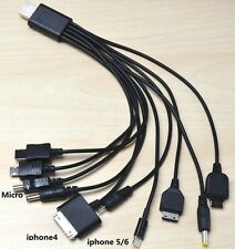 New 10 In 1 USB Charger Cable Cord For Apple iPhone5/6PLUS  iPod MP3 MP4 DVD PSP