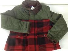 Ralph Lauren Polo Jacket Coat Boys Large 12 14 Hunting Plaid Wool Red Brown New