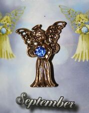 September Guardian Angel Pin Birthstone Antiqued Gold Plated Message Miracles