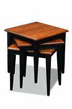 Leick Stacking Table Set, Black and Medium Oak - READ
