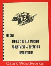 BELSAW 200 Key Maker Machine Instructions & Parts Manual 0851