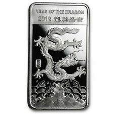 Año del dragón year of the Dragon 1/2 0,5 Oz 2012 999 plata cofres nuevo