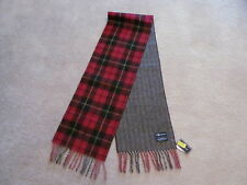 Authentic Polo Ralph Lauren Mens Scarf Lambs Wool Reversible Red Black Plaid NWT