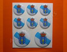 8 x Pegatinas Redondas 3D Relieve Bandera Galicia - Todas las Banderas