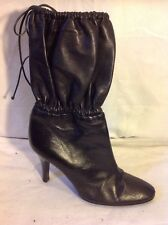 VICINI Black Ankle Leather Boots Size 37