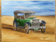 American Antique Car Winton Original Oil Painting on Canvas 11x14