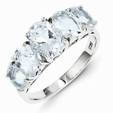 STERLING SILVER GENUINE NATURAL 3.4 CT 5-STONE BLUE AQUAMARINE RING - SIZE 7