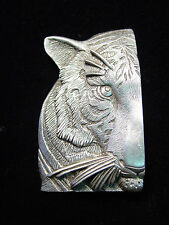"""JJ"" Jonette Jewelry Brite Silver Pewter Detailed 1/2 Tiger Face Pin ~ BEAUTIFUL"