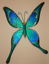 Butterfly Wall Hanging Decor Sculpture Blue & Green Metal & Stained Glass New