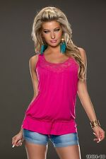 Women's Party Club Wear Chic Fuchsia Top Shirt Blouse UK size 8-10