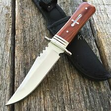 "8"" STAINLESS STEEL WOOD HANDLE HUNTING KNIFE Survival Skinning Bowie 8151zix2-T"