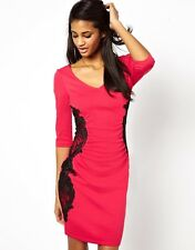 Stunning Lipsy Lace Appliqué Bodycon Size 12 Dress £65 New Year Party Pink Black