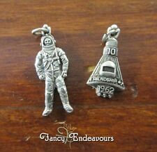 Space Age Sterling Silver  Figural 1962 Friendship 7 Capsule & Astronaut Charms