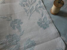 Antique Vintage French Carnation Ticking Toile Damask Fabric ~ Soft Blue