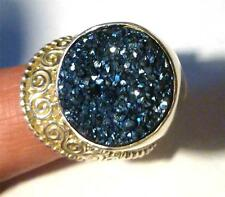 Sajen Blue Druzy 925 STERLING SILVER Ring sz 7.5 and Up Adjustable Size