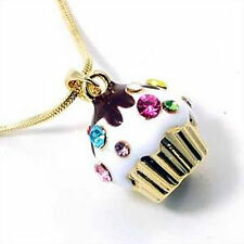 Small Goldtone Cupcake Pendant Charm Necklace