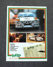 F889 - Advertising Pubblicità - 1983 - TOTIP , RALLY TEAM