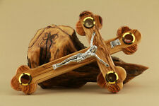 Cross Crucifix 4 Lens Olive Wood 11in La Cruz de las Catorce Estaciones 28 cm