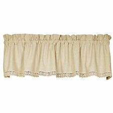 New Shabby French Country Chic Cream LINEN & CROCHET LACE Curtain Window Valance