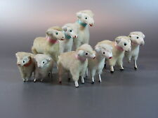 Vintage Wooly Sheep w/ wooden stick Legs PUTZ JAPAN lot of 9 Nativity Lamp 50's