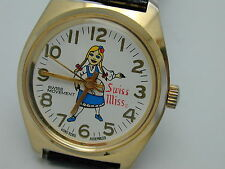 VINTAGE 1960S SWISS MISS MILK MAID WIND UP WATCH REAL COOL RUNNING
