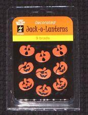 HOT OF THE PRESS 'JACK-O-LANTERNS' Brads 9pcs Halloween/Pumpkins Embellishments
