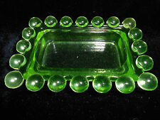 Vaseline glass candlewick pattern hat pin tray soap dish jewelry dresser uranium