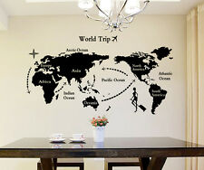 Wall Stickers World Map in Black Colour Home Office Living Room Decoration