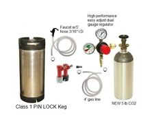 5 Gallon Used Pin Lock Keg Kit 5 lb CO2 Tank Regulator & Accessories Homebrew